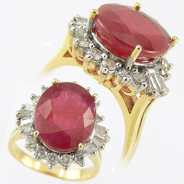 505111357: RUBY & DIAMOND RING 13.12 CTW SET IN 14KT.