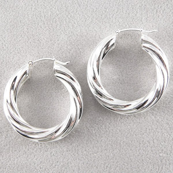 201132061: SS ITALIAN SWIRL HOOP EARRINGS