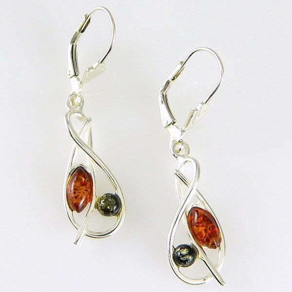 201132106: SS Green and Cognac Amber Lever Back Earring