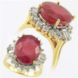 405111357: RUBY & DIAMOND RING 13.12 CTW SET IN 14KT.