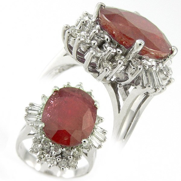 504111406: RED RUBY & DIAMOND RING 6.30 CTW  14KT.