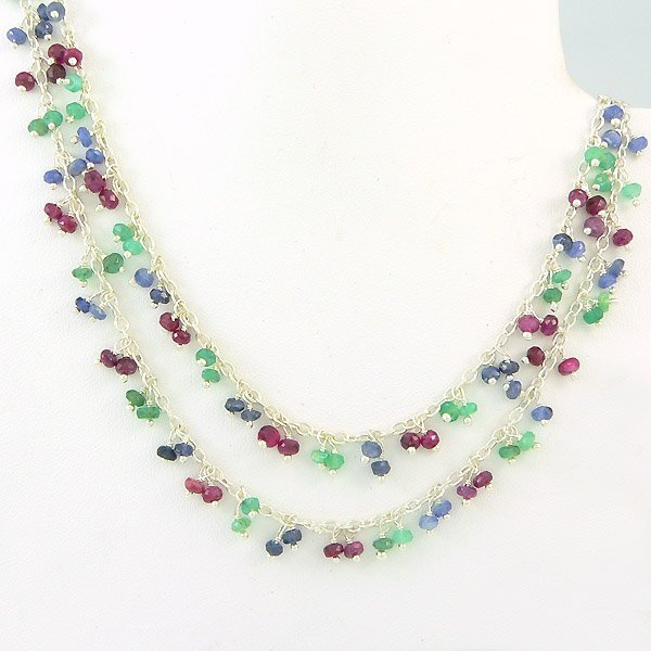 10010: SS EMERALD RUBY SAPPHIRE NECKLACE 36 IN