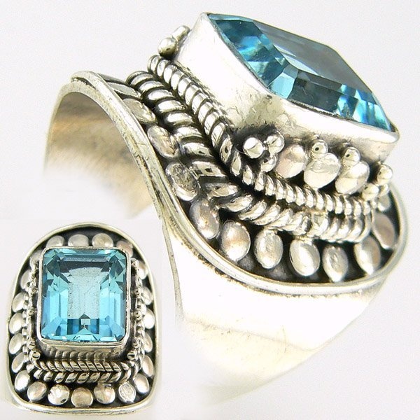 10030: SS BLUE TOPAZ BALI STYLE RING 4.5CT SZ 6.25