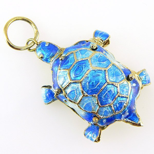 20001: CLOISONNE TURTLE PENDANTS 1.25X.875 IN