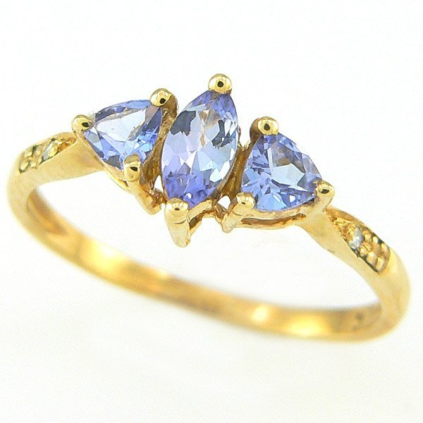 20034: TANZANITE & DIAMOND RING 0.60TCW 10KT SZ 6