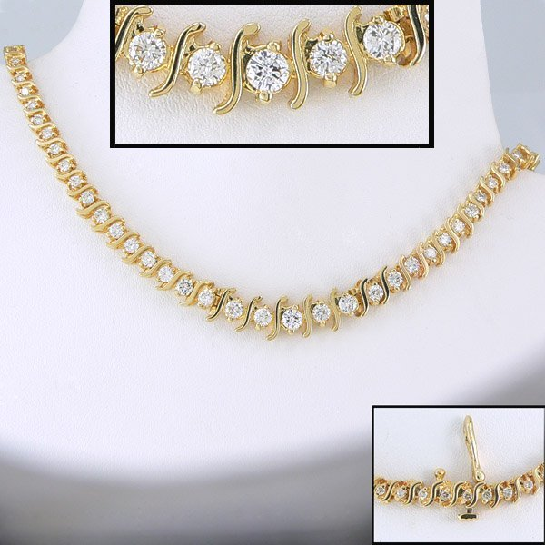 21385: 5+ CARAT SI-1 SI-2 DIAMOND NECKLACE 14KT 16IN