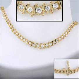 41385: DIAMOND NECKLACE 14KT 16IN - 5+ CARAT SI CLARITY
