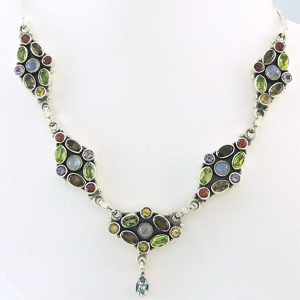10019: SS MULTI GEM STONE MARQUISE NECKLACE 17IN