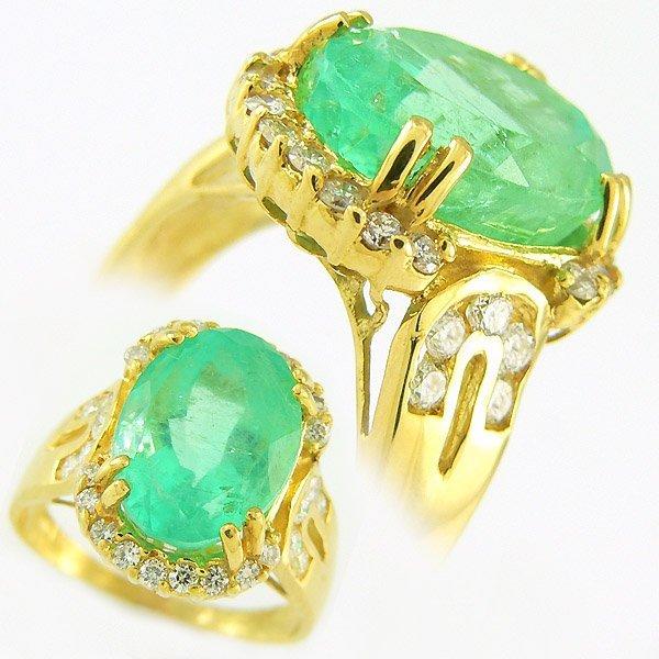 11695: EMERALD & DIAMOND RING 6.85TCW 18KT SZ 8