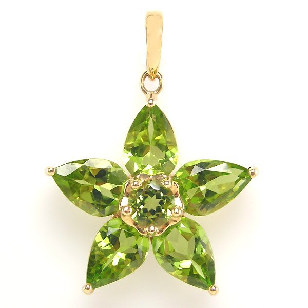 40002: 10KT PERIDOT FLOWER PENDANT 30X23MM