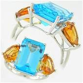 40367: CITRINE & BLUE TOPAZ RING 10.40TCW 14KT SZ 7