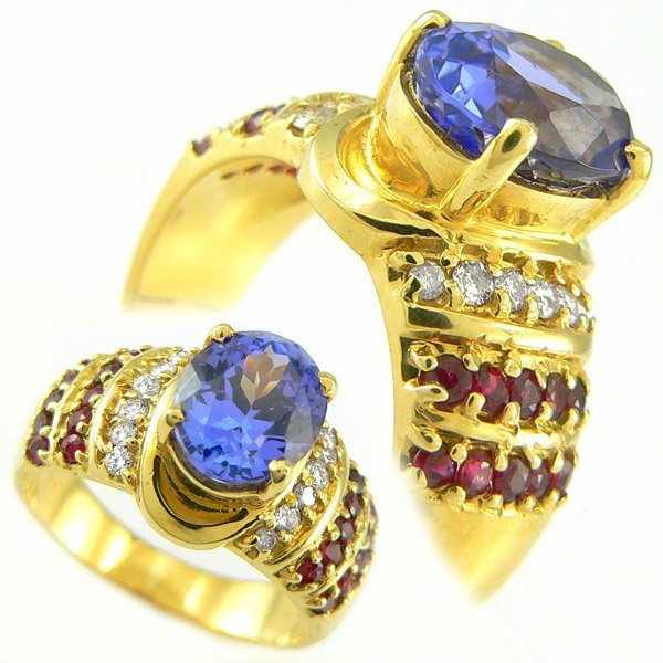 41340: TANZANITE RUBY DIA RING 3.95TCW 14KT SZ 6.75