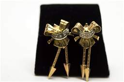 18 KT yellow Gold and Diamonds Retro Earring