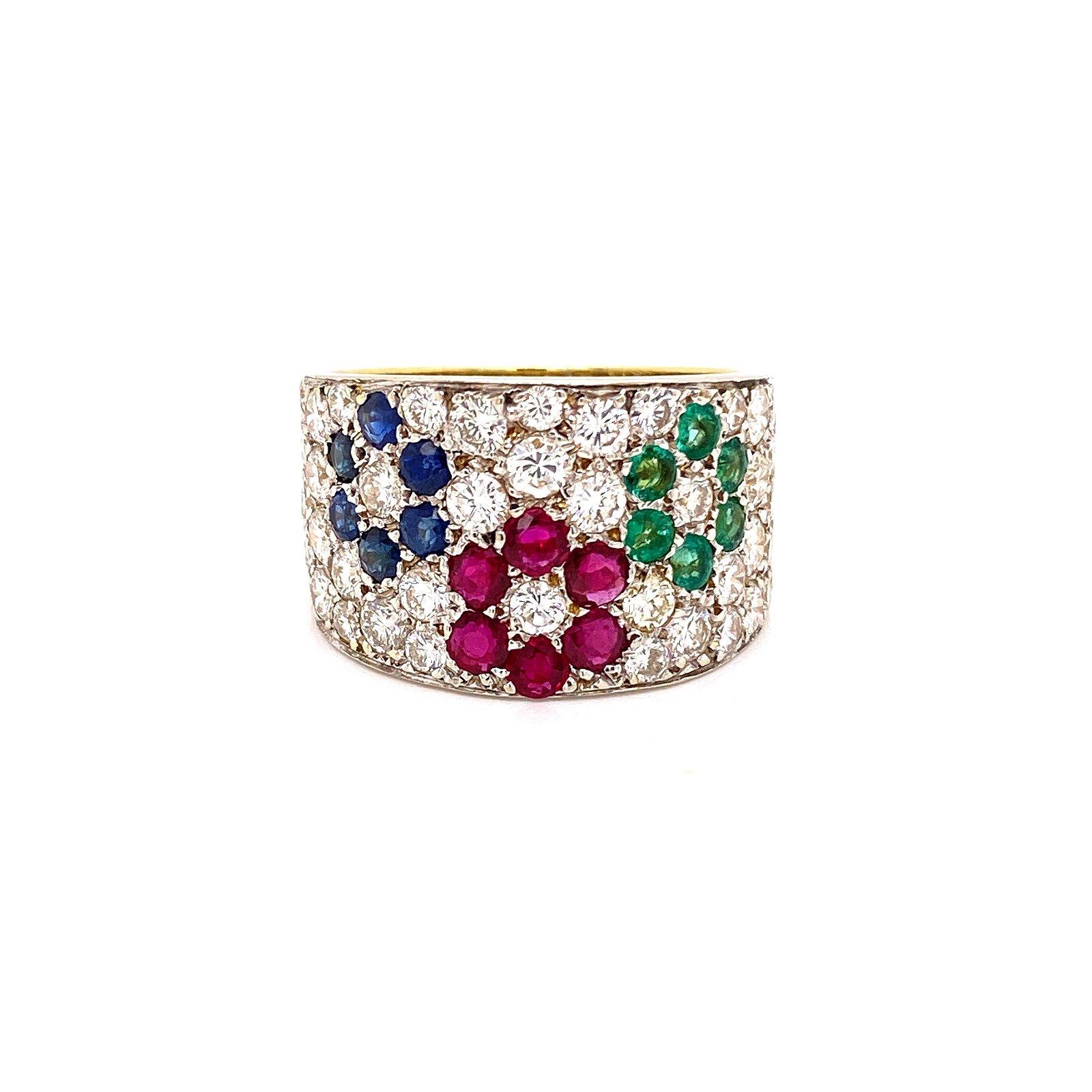 18k Gold, Colored Gems & Diamonds Ring