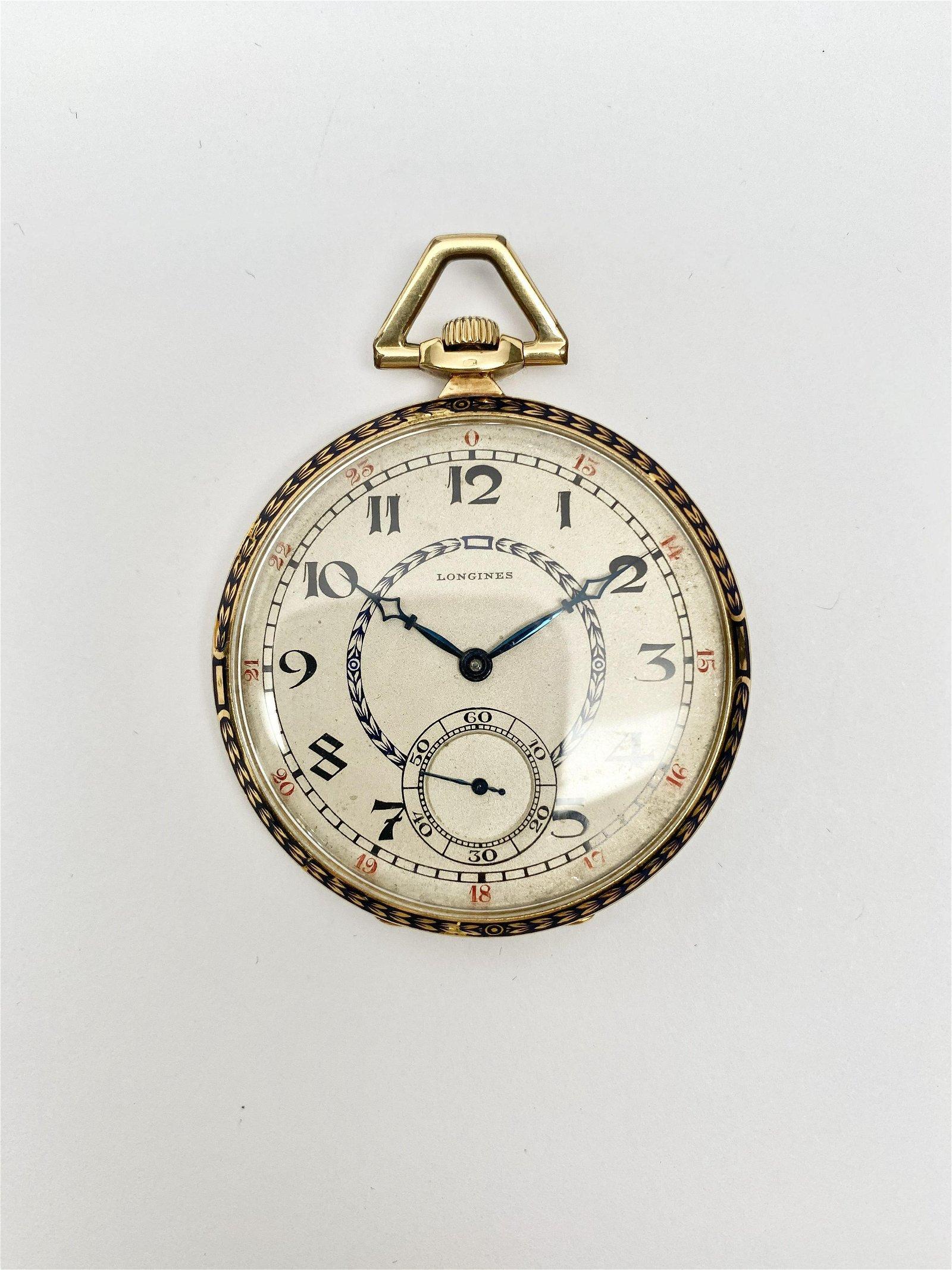 LONGINES 18k Gold & Enamel pocket Watch