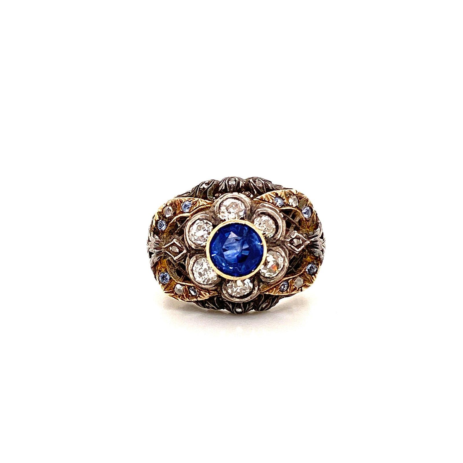 Gold, Silver, Diamond & Sapphire Victoria Ring