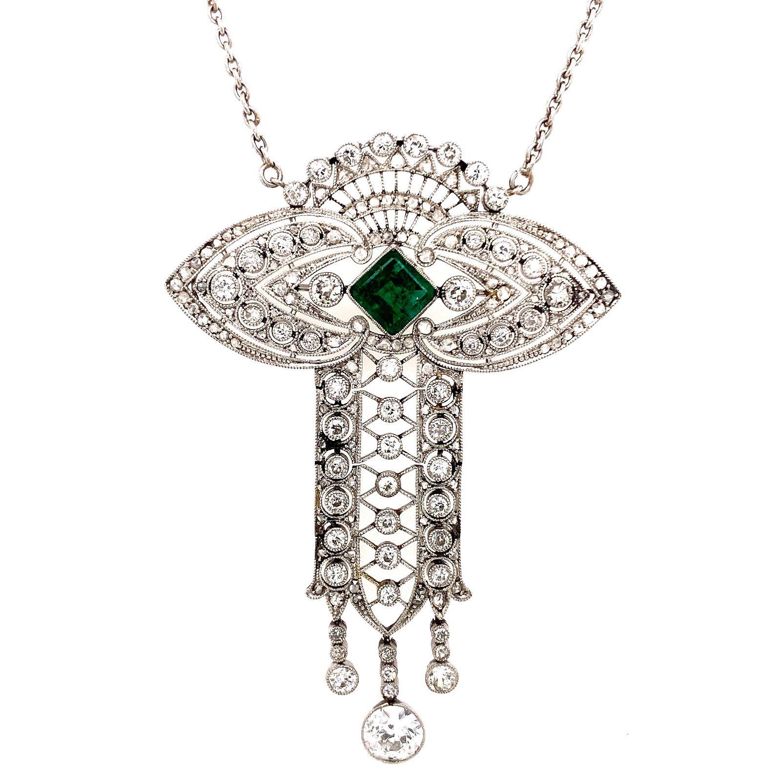 Platinum, Diamond & Emerald Necklace