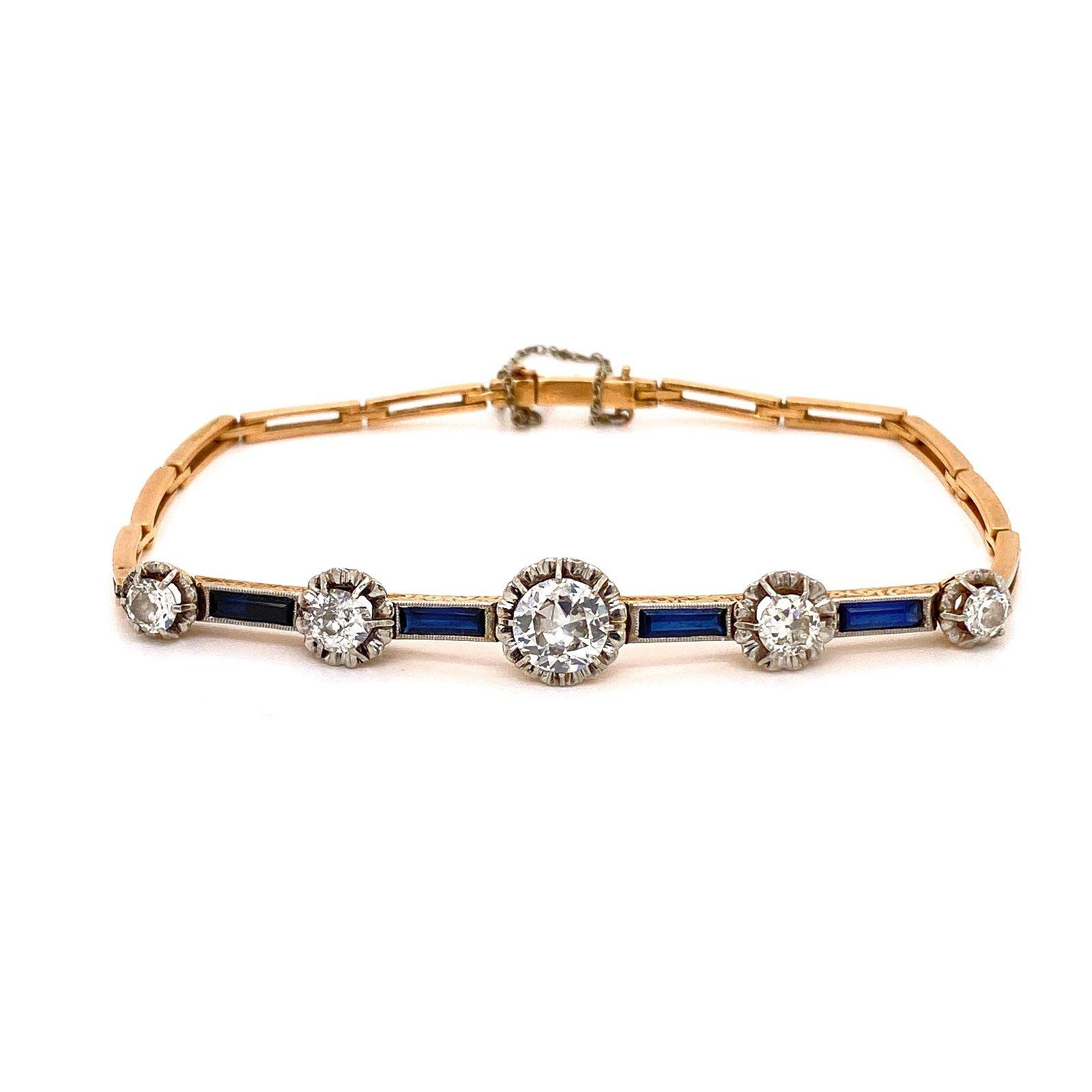 18k Gold, Platinum, Sapphire & Diamonds Bracelet