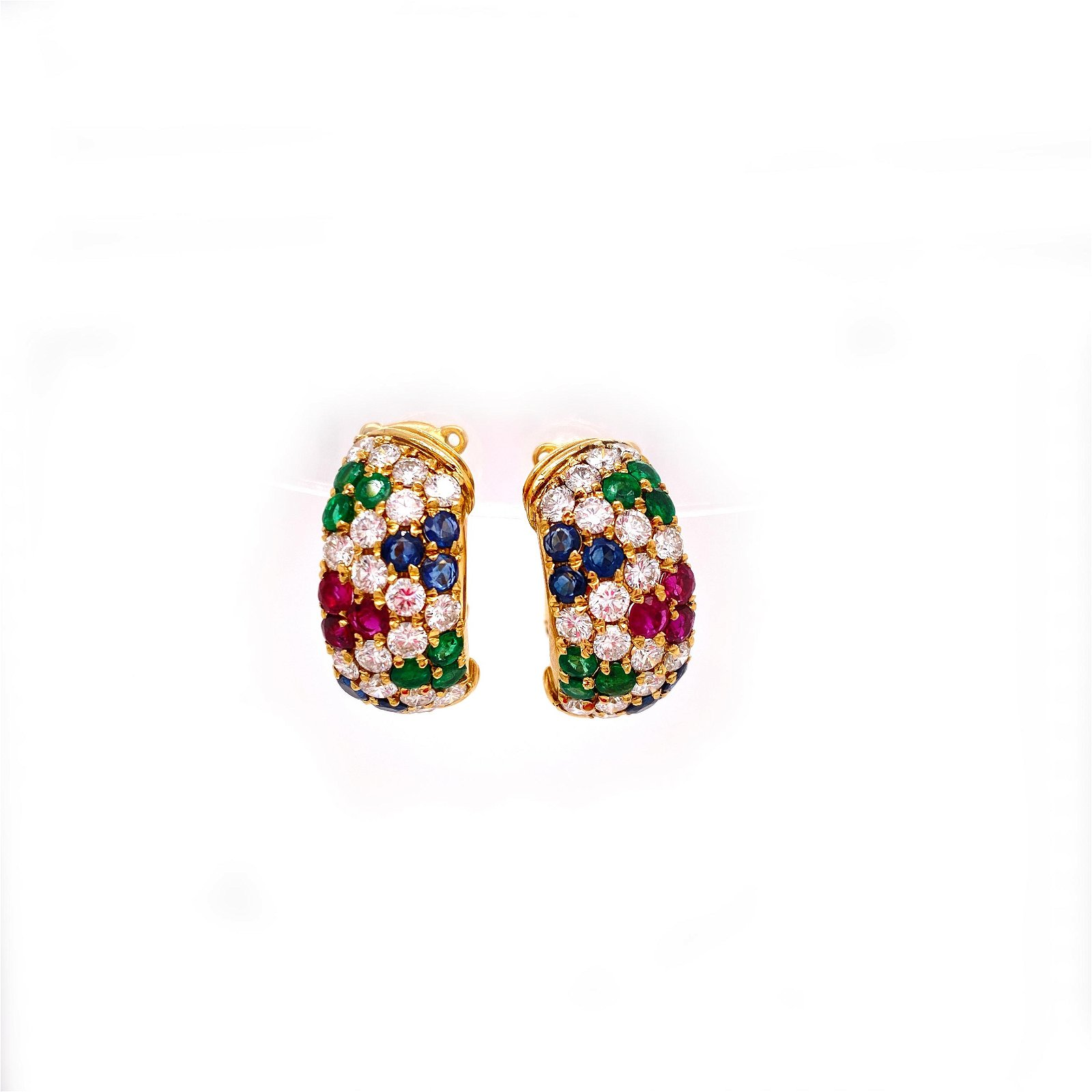 18 k yellow Gold, Rubies, Emeralds, Sapphires and