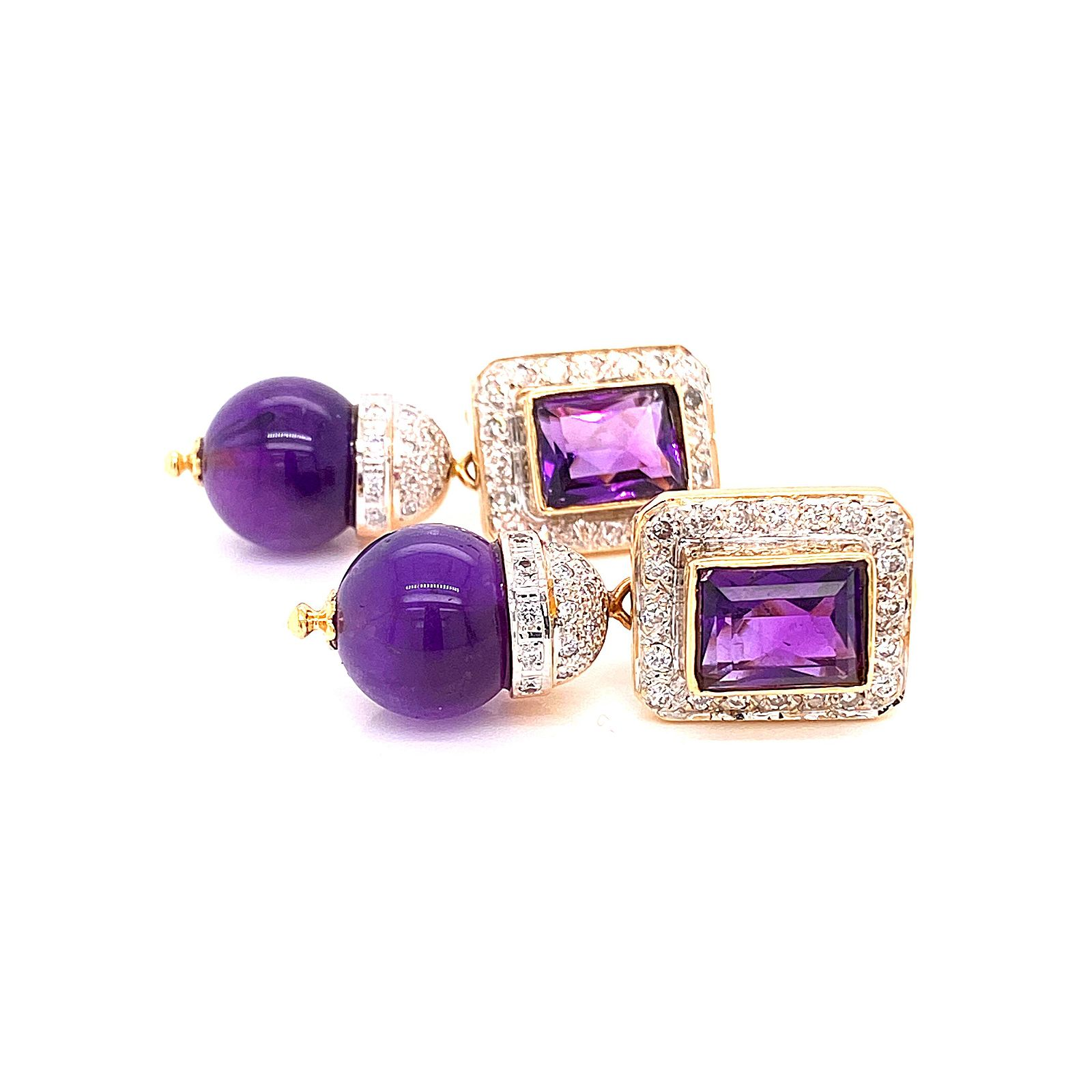 18 k Gold & Amethyst bead Diamond Necklace & Earrings