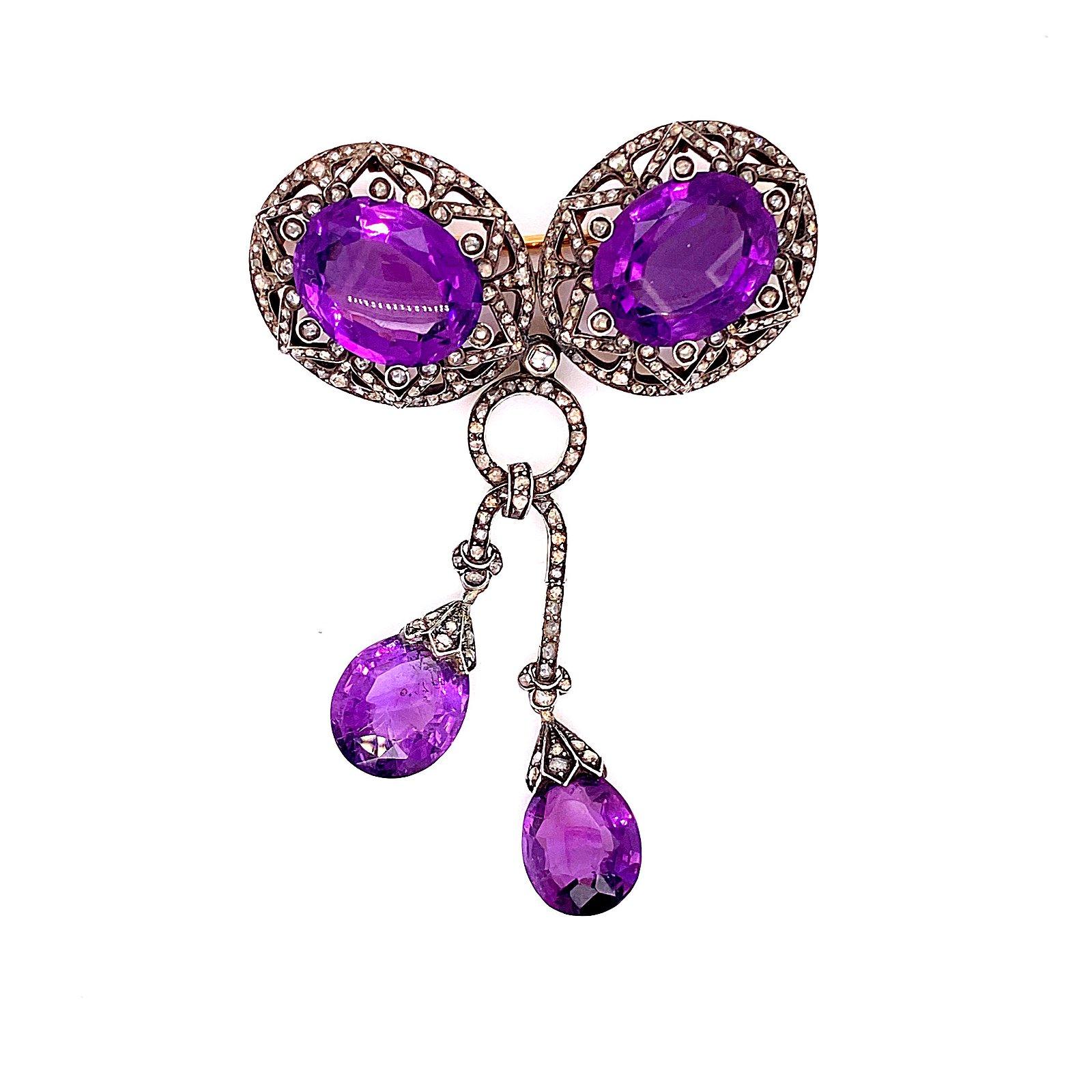 Amethyst Diamond Victorian Brooch