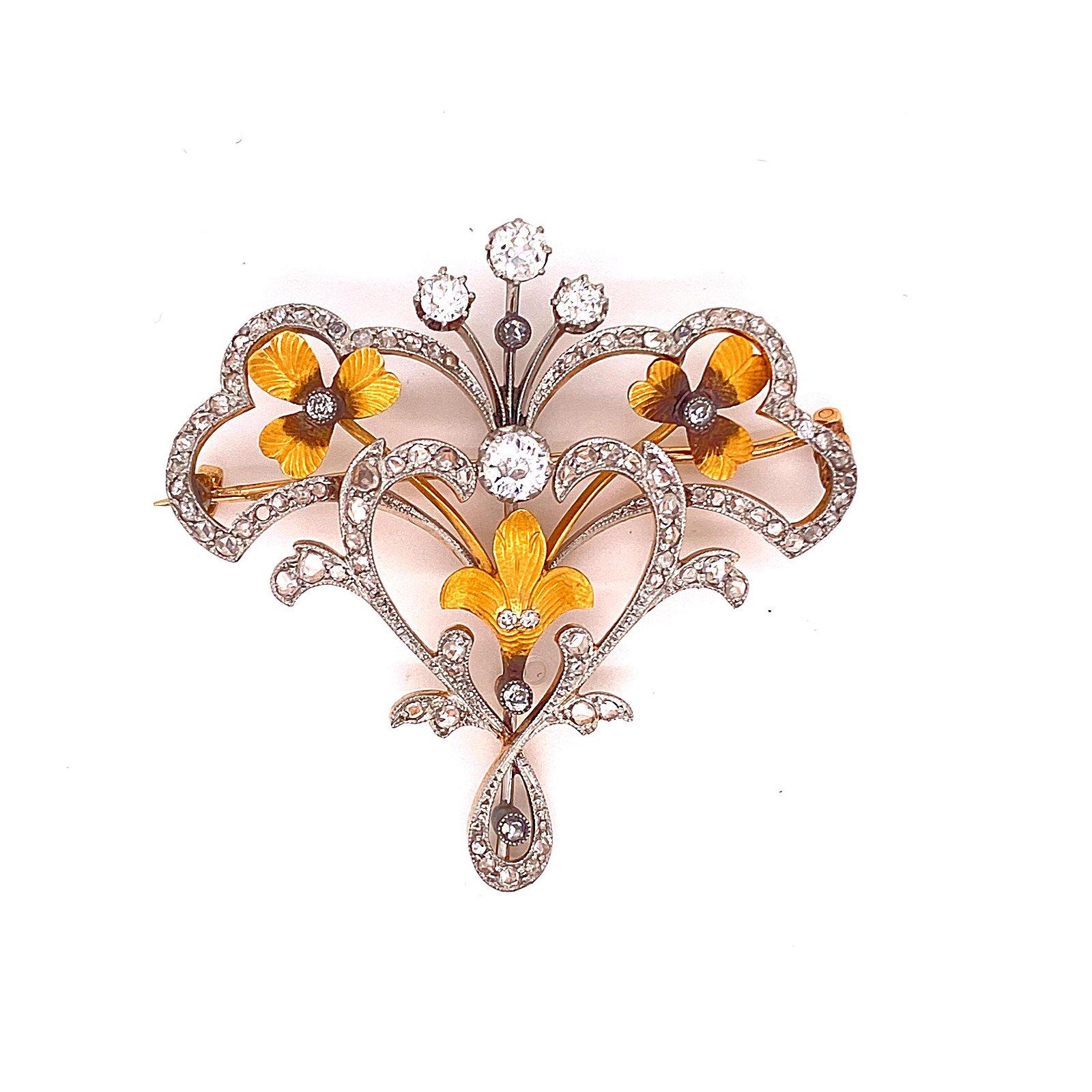 18K Gold & Platinum Victorian Brooch