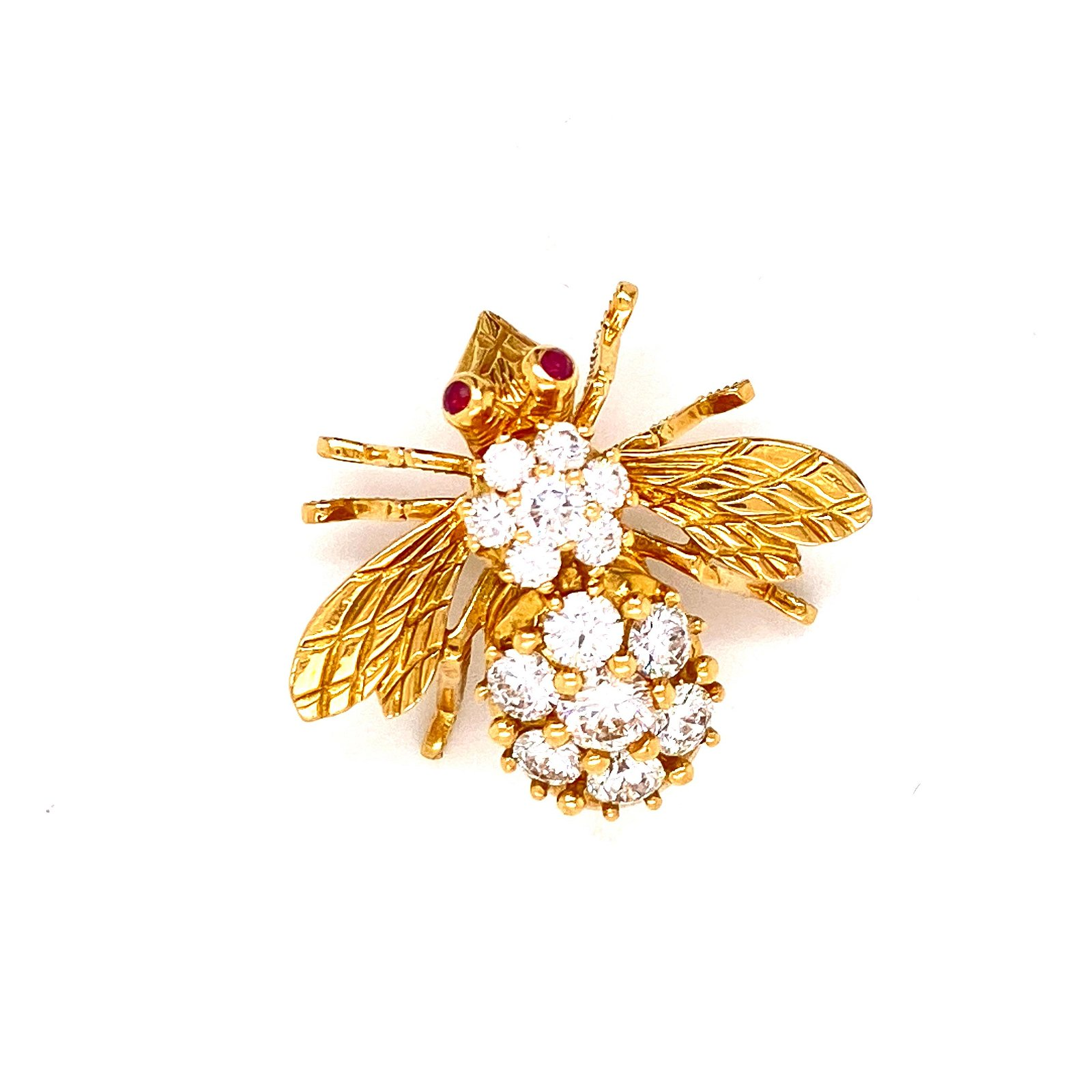 18K Gold, Diamonds & Rubies Bee Pendant
