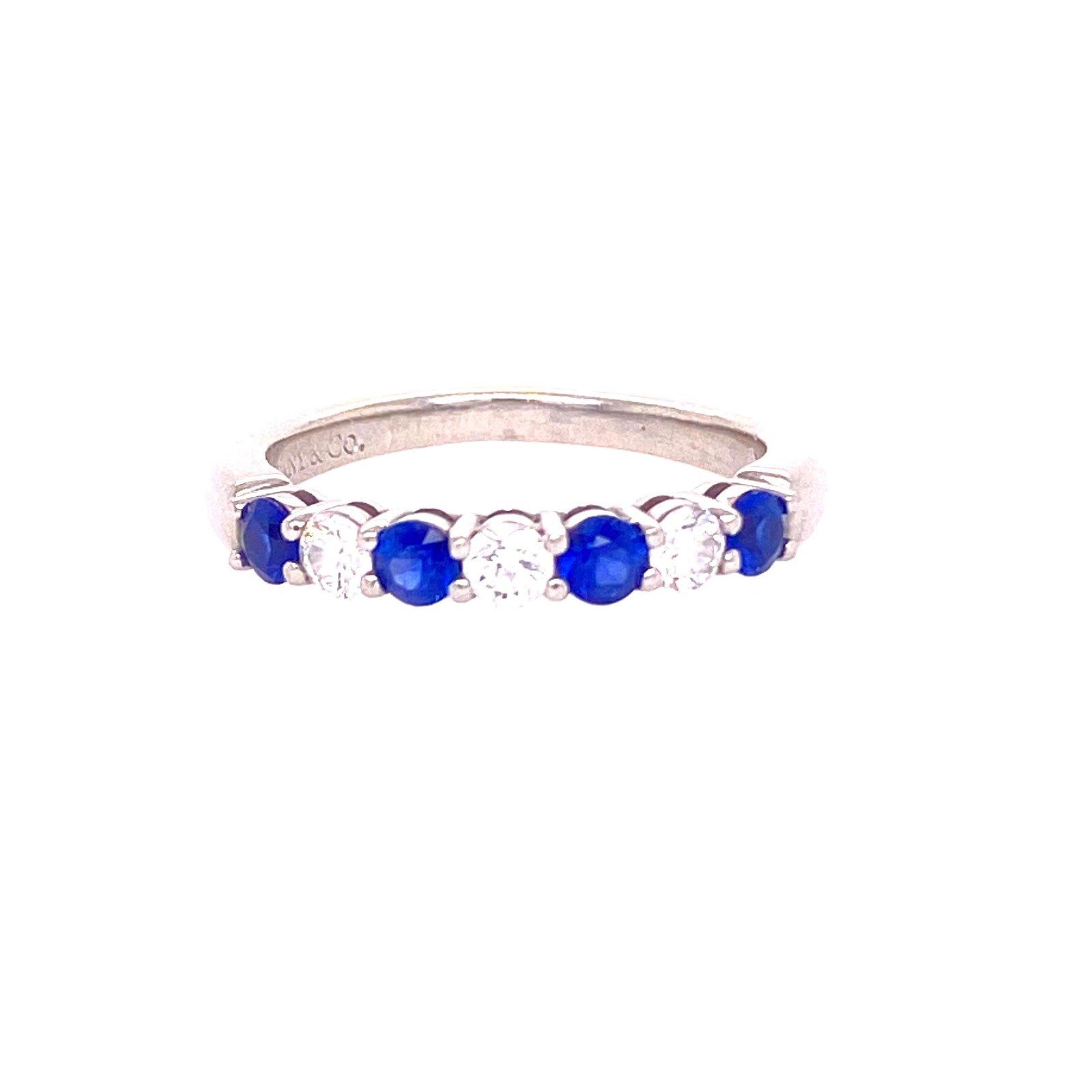 TIFFANY & CO. Platinum Diamond Sapphire Ring