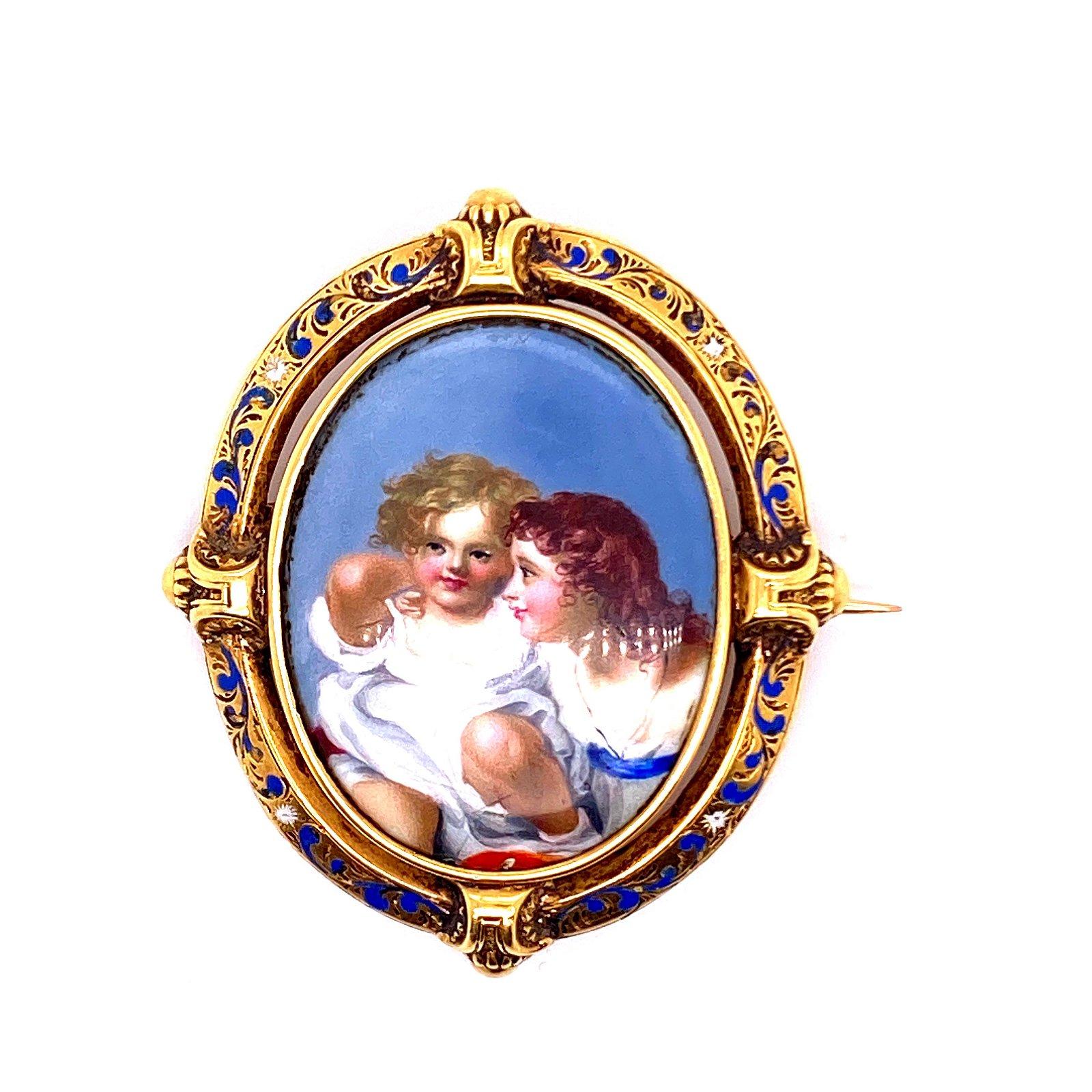 Victorian 18k Gold Enamel & Painting Brooch