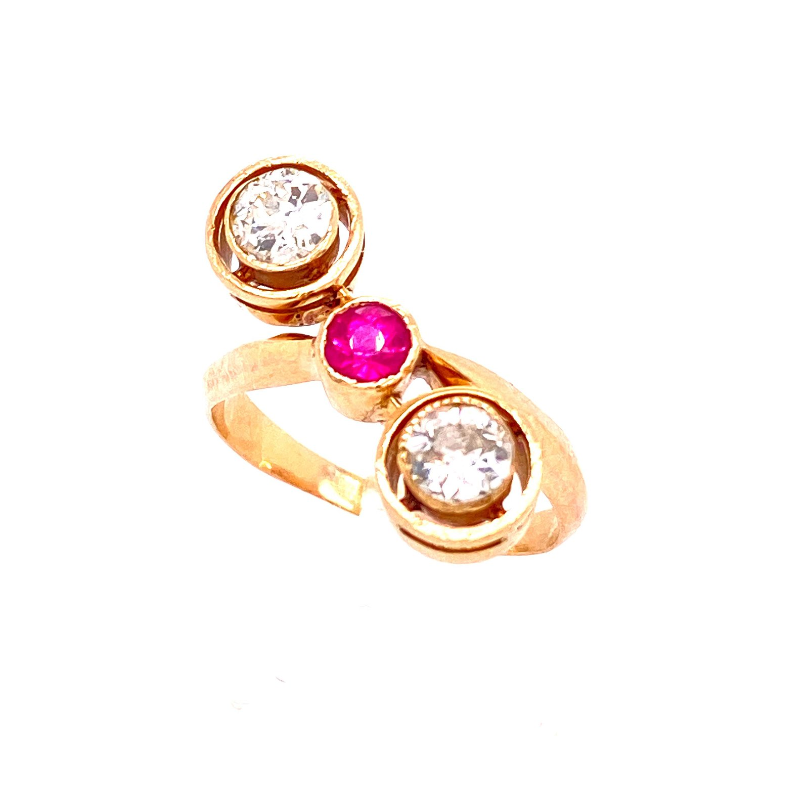 Art Nouveau 18k Gold Ruby & Diamonds