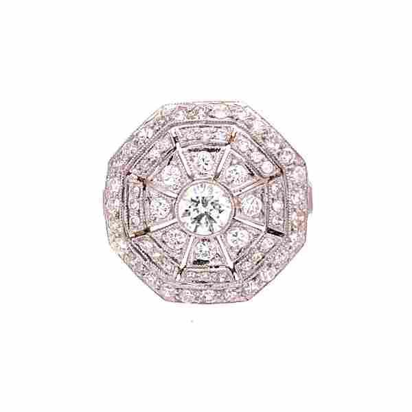 Art Deco Platinum Diamonds Cocktail Ring
