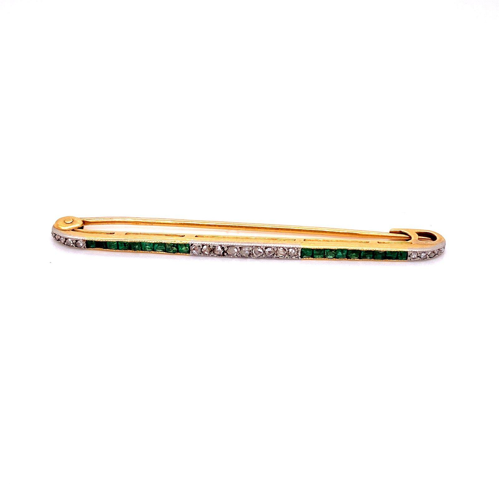 Edwardian French 18k Gold Diamonds Emerald Brooch