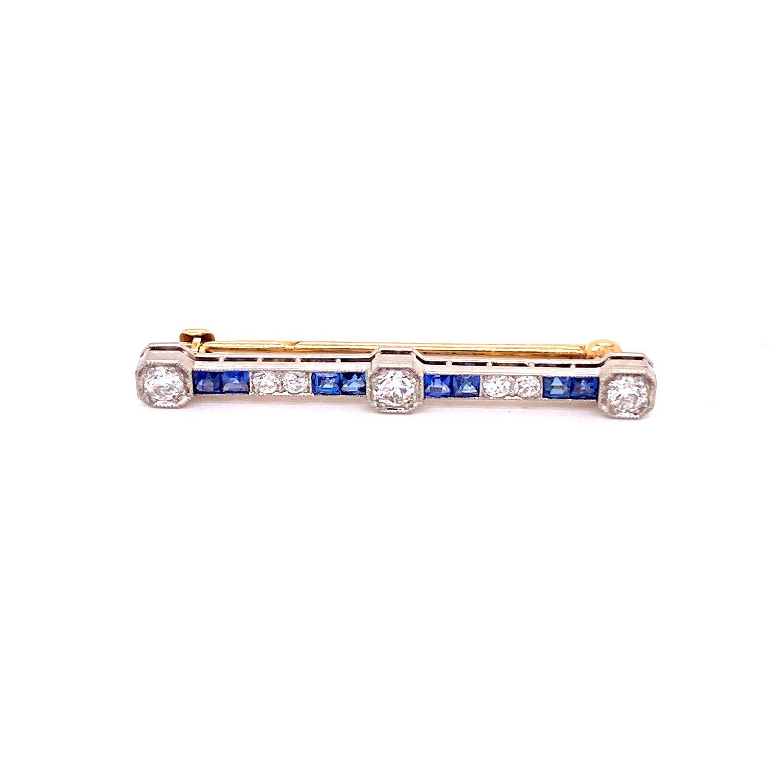 Edwardian French 18k Gold Diamonds Sapphire Brooch