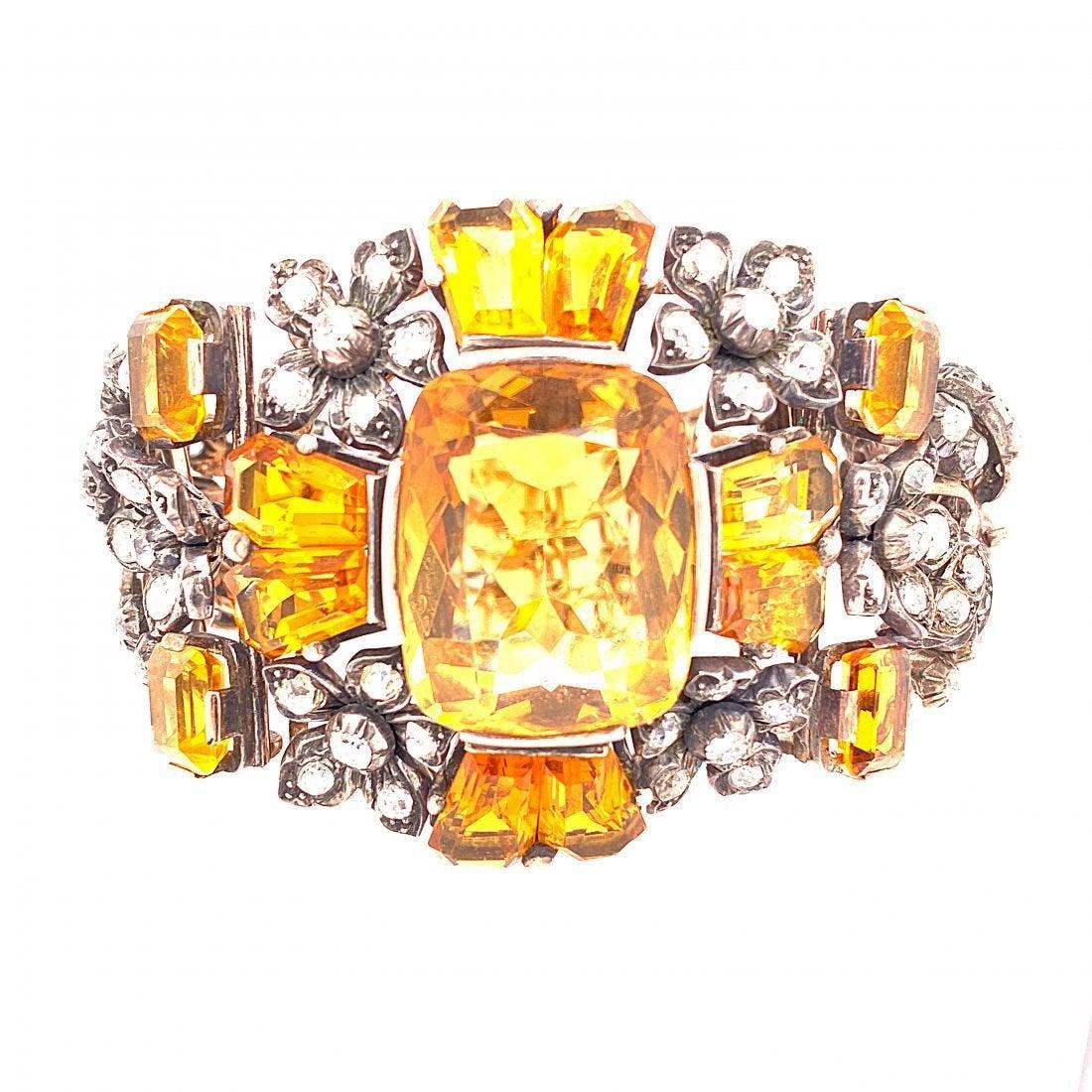 14K Gold, Silver, Diamonds & Citrine Bracelet