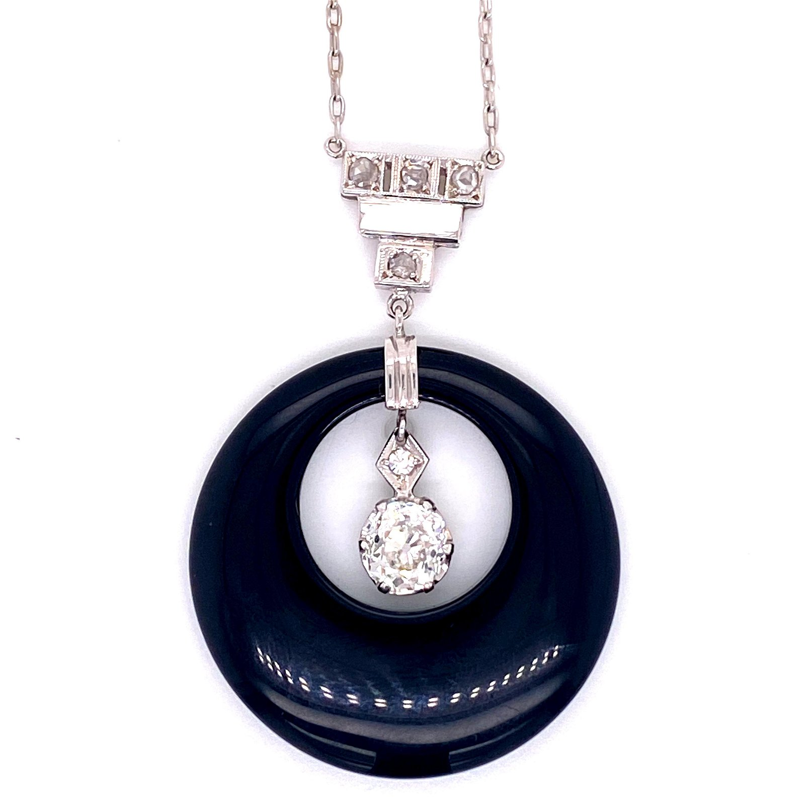 Art Deco Diamond Onyx Platinum Pendant