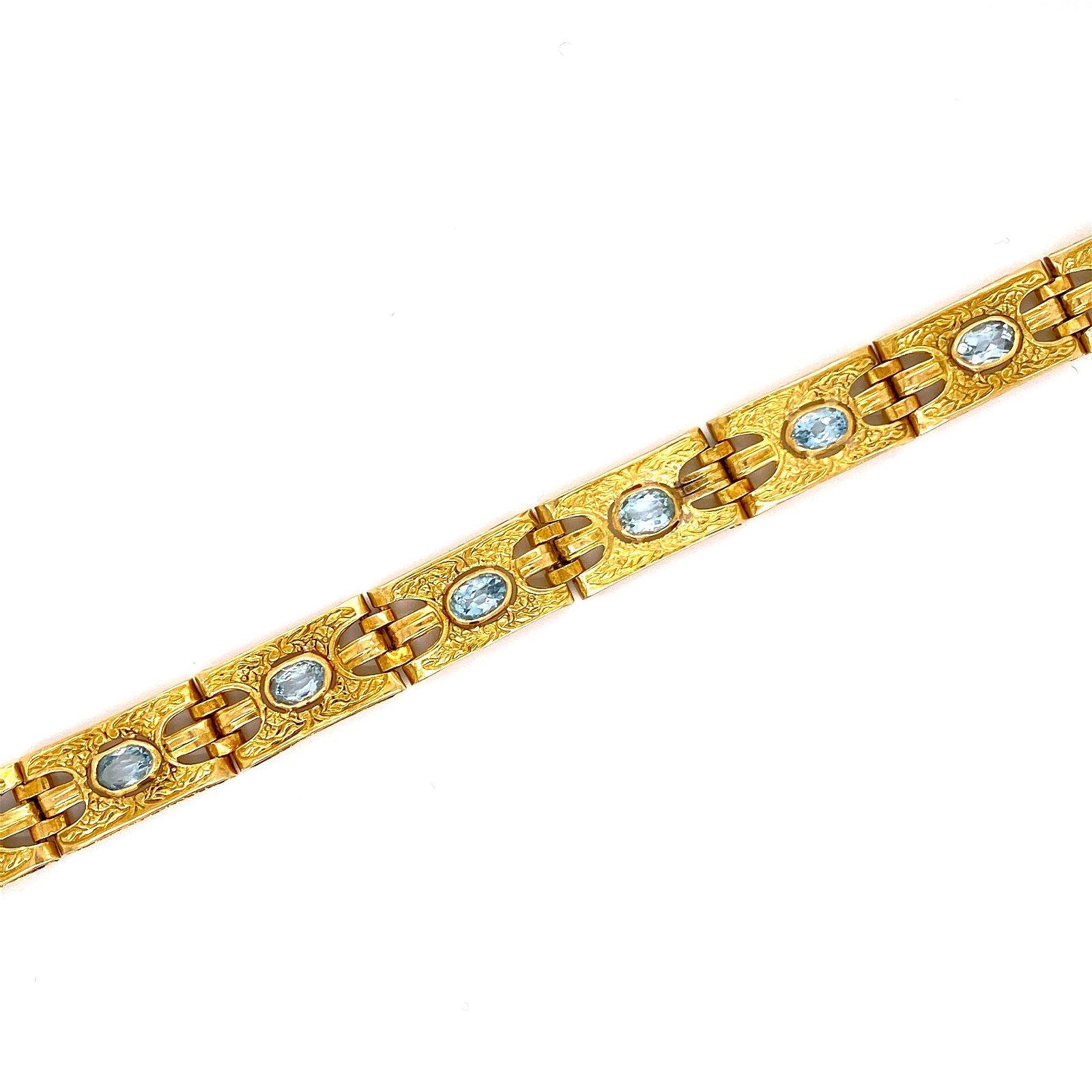 18K Gold Aquamarine Bracelet