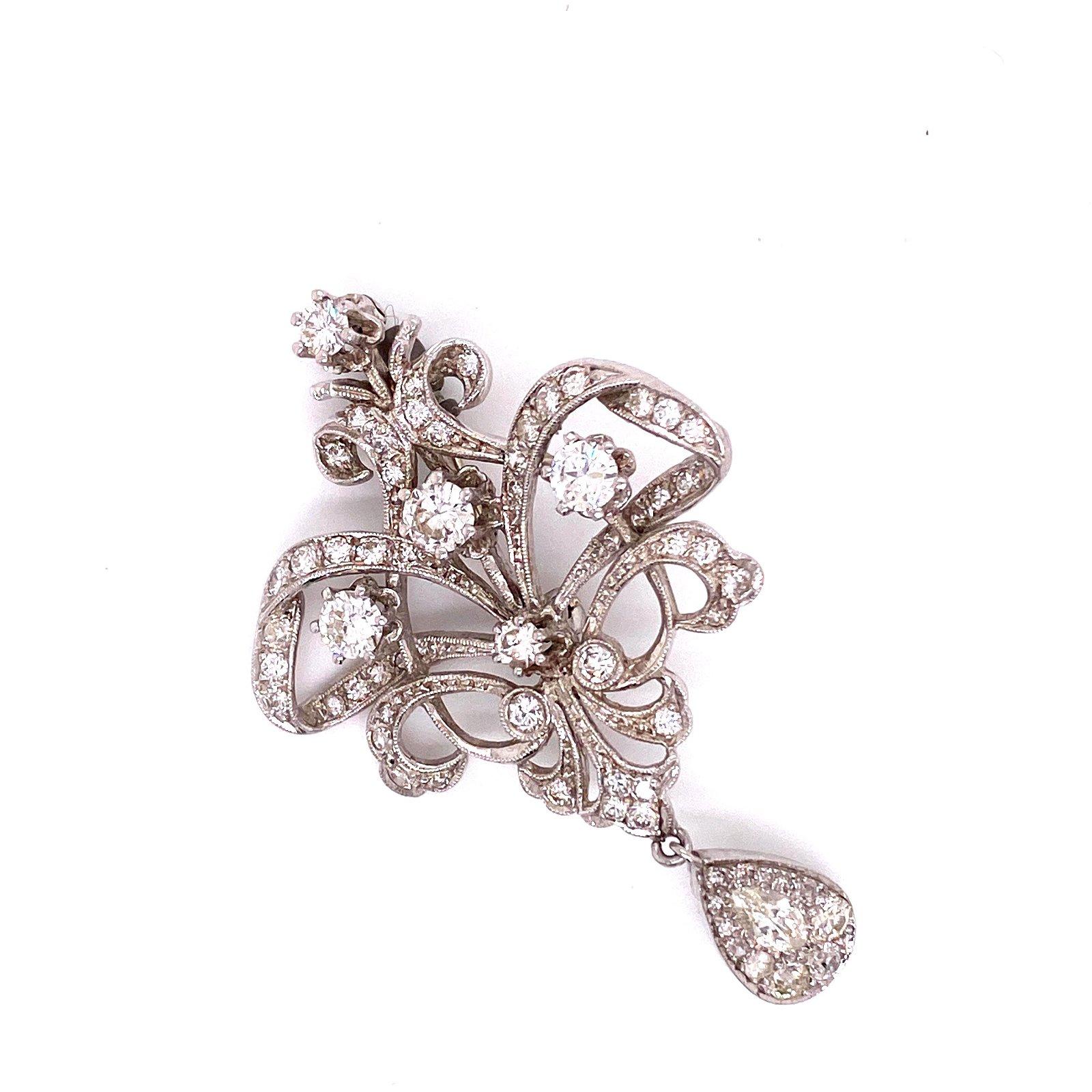 Diamond 18k White Gold Victorian Revival Pin
