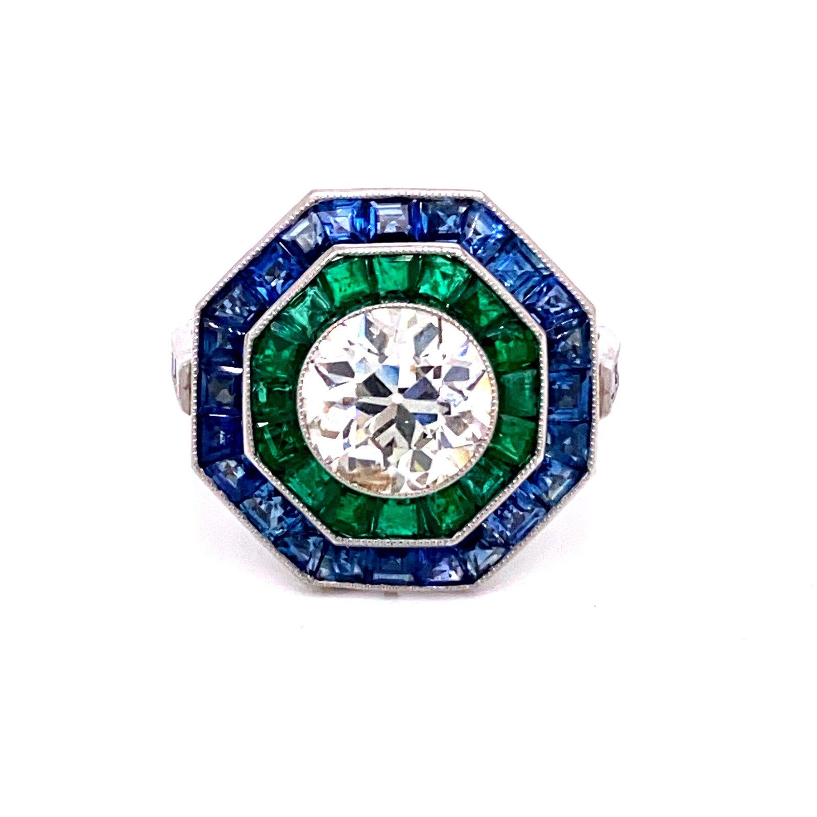 Platinum Diamond Sapphire Emerald Ring