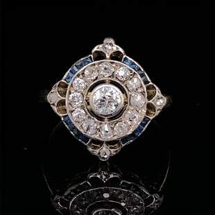 ART DECO 18k Platinum Diamond Sapphire Ring