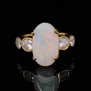 Opal & Diamond 14k Yellow Gold Cocktail Ring