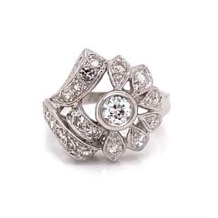 Retro 14k Diamond Leaf Motif Ring