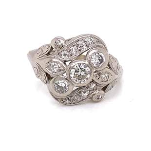 1920's 18k Art Nourveau Diamond Ring
