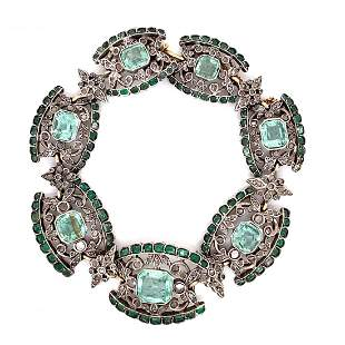 Georgian Sterling Silver & 15k Diamond Emerald