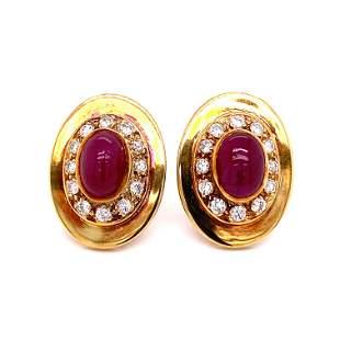 1970's 14k Ruby Diamond Earrings
