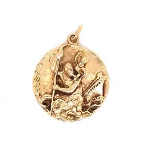18k YG St. Christopher Medal
