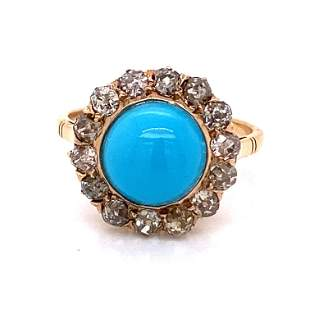 Victorian 14k Turquoise Halo Diamond Ring