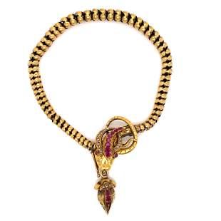 Victorian 14k Ruby Diamond Snake Bracelet