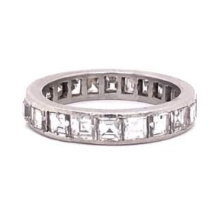 Platinum Diamond Carre Eternity Wedding Band