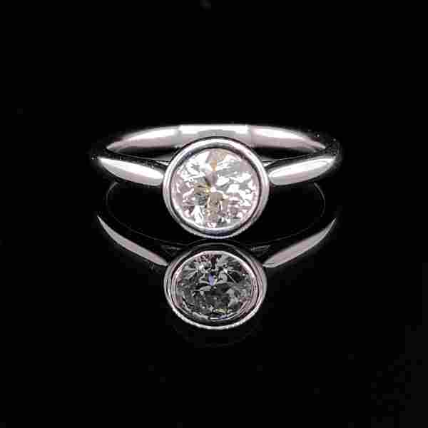 GIA 14k Old Euro Solitaire Diamond Engagement Ring