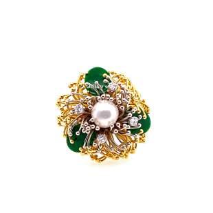 1970's Platinum 18k Pearl, Imperial Jade Jadeite,